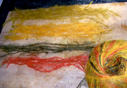 "Mohair ""mutt"" reduced to lengths of the component colors"